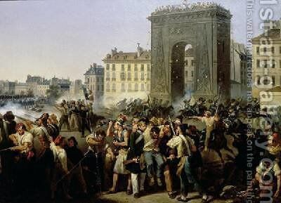 Battle at the Porte Saint-Denis by Hippolyte Lecomte - Reproduction Oil Painting