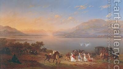 Empress Josephine 1763-1814 arriving to visit Napoleon 1769-1821 in Italy on the banks of Lake Garda by Hippolyte Lecomte - Reproduction Oil Painting