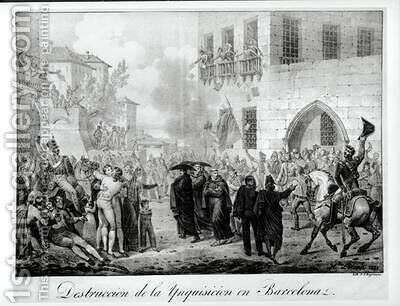 Destruction of the Inquisition in Barcelona by Hippolyte Lecomte - Reproduction Oil Painting
