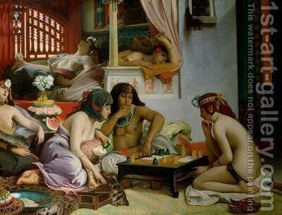 In the Harem by Jean Jules Antoine Lecomte du Nouy - Reproduction Oil Painting