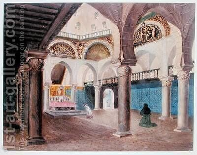 Interior of a Mosque Converted into a Bishops Palace Algiers by Theodore Leblanc - Reproduction Oil Painting