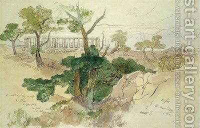 Temple at Bassae by Edward Lear - Reproduction Oil Painting
