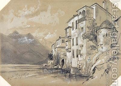St Giulio Orta by Edward Lear - Reproduction Oil Painting