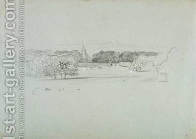 View across a Meadow to a Church by Edward Lear - Reproduction Oil Painting