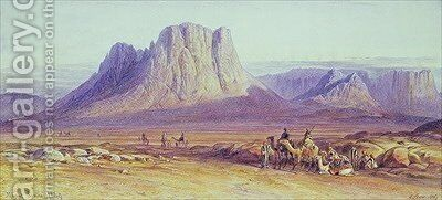 The Camel Train Condessi Mount Sinai by Edward Lear - Reproduction Oil Painting
