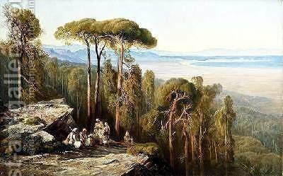 Travellers in a wood by Edward Lear - Reproduction Oil Painting