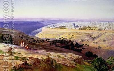 Jerusalem from the Mount of Olives 2 by Edward Lear - Reproduction Oil Painting