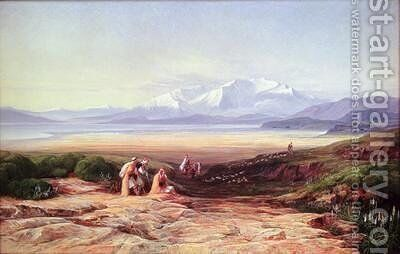 Mount Parnassus Lake Cephissus and the Plains of Boetia Greece by Edward Lear - Reproduction Oil Painting