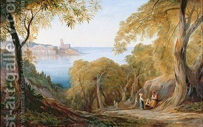 Landscape with View of Lerici by Edward Lear - Reproduction Oil Painting