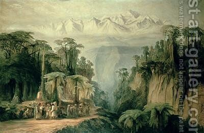 Mount Kanchenjunga from Darjeeling West Bengal by Edward Lear - Reproduction Oil Painting