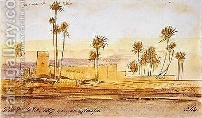 Near Wady Halfeh by Edward Lear - Reproduction Oil Painting