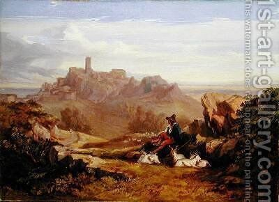 Landscape with Goatherd by Edward Lear - Reproduction Oil Painting