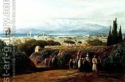 City with cemetery by Edward Lear - Reproduction Oil Painting