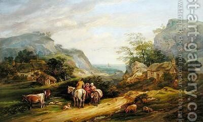 Landscape with figures and cattle by James Leakey - Reproduction Oil Painting