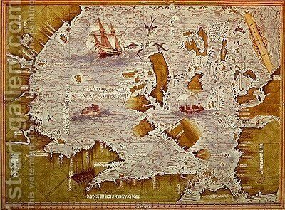 Map of the Sea of Maluku by Guillaume Le Testu - Reproduction Oil Painting
