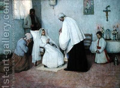 Communion in Extremis by Henri Eugene Augustin Le Sidaner - Reproduction Oil Painting