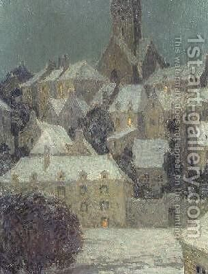 Winter Evening View of a Town by Henri Eugene Augustin Le Sidaner - Reproduction Oil Painting