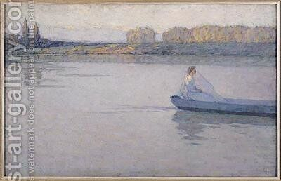 On the River Morning by Henri Eugene Augustin Le Sidaner - Reproduction Oil Painting
