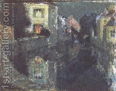 The Canal at Night by Henri Eugene Augustin Le Sidaner - Reproduction Oil Painting