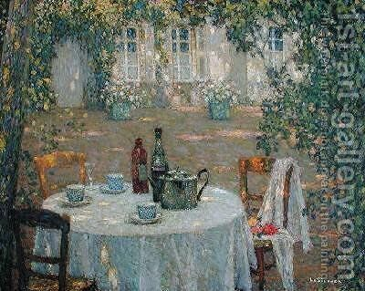 The Table in the Sun in the Garden by Henri Eugene Augustin Le Sidaner - Reproduction Oil Painting