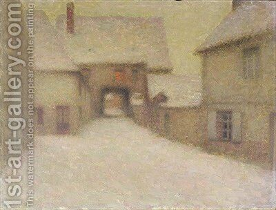 Snow the Old Village Gerberoy by Henri Eugene Augustin Le Sidaner - Reproduction Oil Painting
