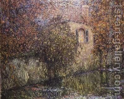 The House by the River by Henri Eugene Augustin Le Sidaner - Reproduction Oil Painting