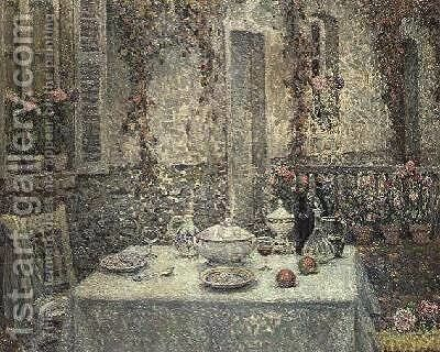 The White Tablecloth by Henri Eugene Augustin Le Sidaner - Reproduction Oil Painting
