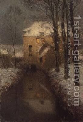 A House in Winter by Henri Eugene Augustin Le Sidaner - Reproduction Oil Painting