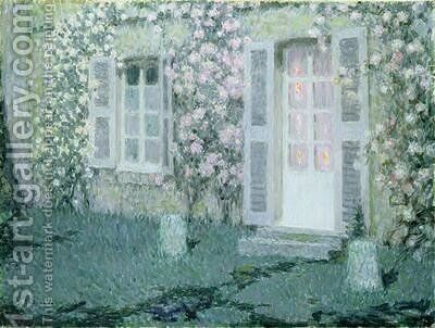 The House with Roses by Henri Eugene Augustin Le Sidaner - Reproduction Oil Painting