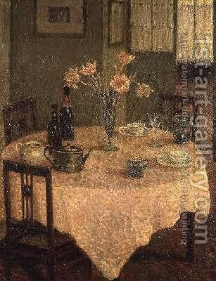 Interior with a Pink Tablecloth by Henri Eugene Augustin Le Sidaner - Reproduction Oil Painting