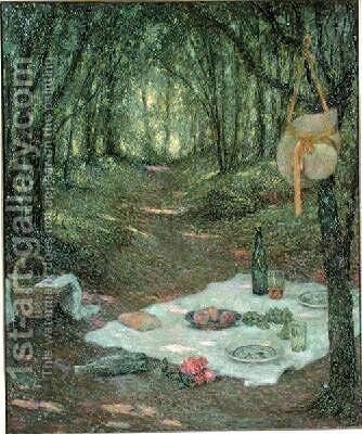 A Break in the Woods Gerberoy by Henri Eugene Augustin Le Sidaner - Reproduction Oil Painting