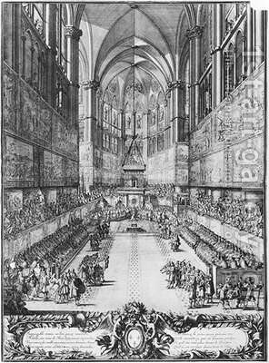 The Coronation of Louis XIV on 7th June 1654 in Reims cathedral by Antoine Le Pautre - Reproduction Oil Painting