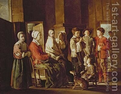 The Visit to the Grandmother by Mathieu Le Nain - Reproduction Oil Painting