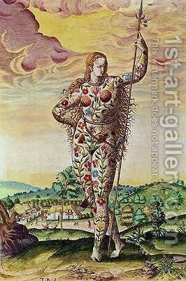 A Young Pictish Woman by (after) Le Moyne, Jacques (de Morgues) - Reproduction Oil Painting