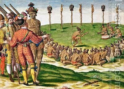Indian Victory Ceremony by (after) Le Moyne, Jacques (de Morgues) - Reproduction Oil Painting