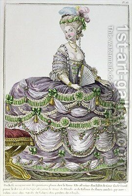 A Duchess at the court of Louis XVI wearing a dress with paniers by (after) Le Clere - Reproduction Oil Painting