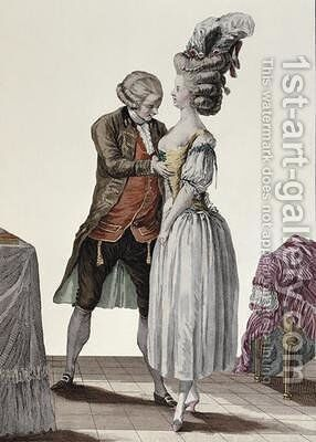 A tailor trying out a fashionable corset on a lady by (after) Le Clere - Reproduction Oil Painting