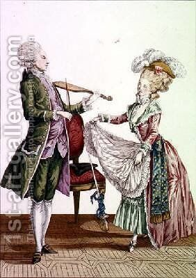 A gentleman playing the violin while a lady dances by (after) Le Clerc, Pierre Thomas - Reproduction Oil Painting