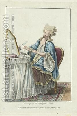 Woman at her Toilet folding a Note 2 by (after) Le Clerc, Pierre Thomas - Reproduction Oil Painting