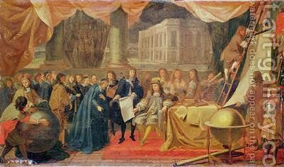 Study for The Establishment of the Academie des Sciences in 1666 and the Foundation of the Observatory in 1667 by Charles Le Brun - Reproduction Oil Painting
