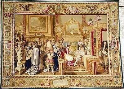 The Audience of Cardinal Chigi with Louis XIV 1638-1715 at Fontainebleau by (after) Le Brun, Charles - Reproduction Oil Painting