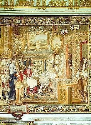 Louis XIV 1638-1715 receiving the Papal Legate at Fontainebleau 2 by (after) Le Brun, Charles - Reproduction Oil Painting