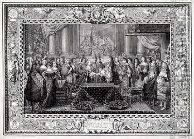 Marriage Ceremony of Louis XIV 1638-1715 King of France and Navarre and the Infanta Maria Theresa of Austria 1638-83 daughter of Philip IV King of Spain in 1660 by (after) Le Brun, Charles - Reproduction Oil Painting