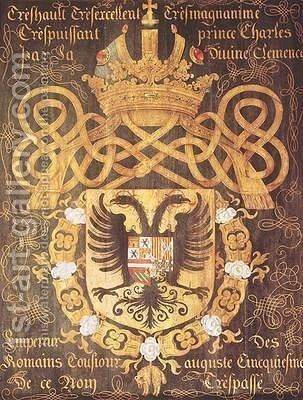 Coat of Arms of Charles V 1500-58 of the 23rd Chapter of the Order of the Golden Fleece by Jacques Le Boucq - Reproduction Oil Painting