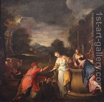 Rebecca at the Well by Gregorio Lazzarini - Reproduction Oil Painting