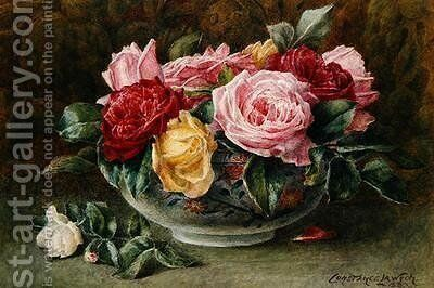 A Bowl of Roses by Constance Lawson - Reproduction Oil Painting