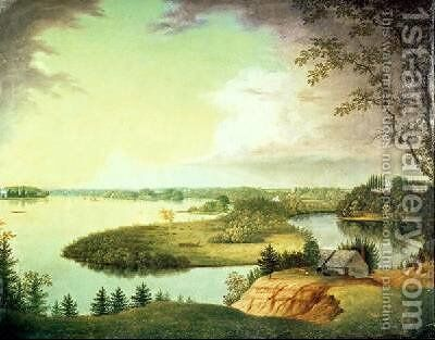 Delaware River near Bordenton New Jersey by Charles B. Lawrence - Reproduction Oil Painting