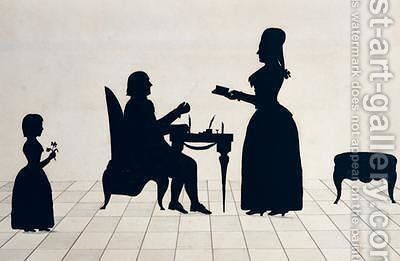 Silhouettes of Monsieur and Madame Roland and their Daughter Eudora by Jean Gaspard Lavater - Reproduction Oil Painting