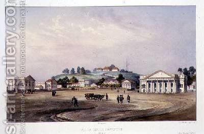 View of a Protestant Temple by (after) Lauvergne, Barthelemy - Reproduction Oil Painting