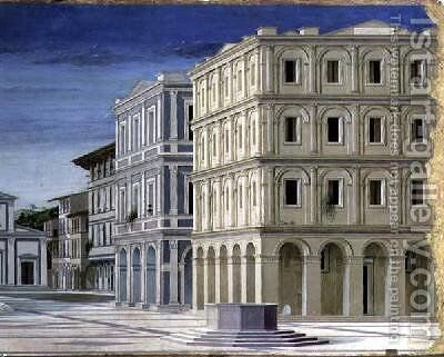 View of an Ideal City or The City of God by (attr. to) Laurana, Luciano - Reproduction Oil Painting